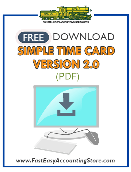 Free Contractor Simple Time Card Version 2 PDF Template