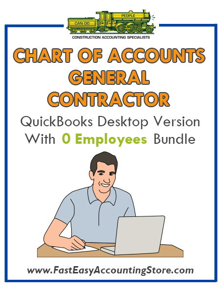 General Contractor QuickBooks Chart Of Accounts Desktop Version With 0 Employees Bundle