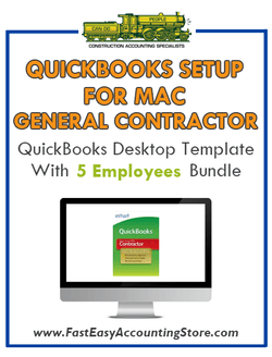 General Contractor Residential QuickBooks Setup Mac Template 0-5 Employees Bundle - Fast Easy Accounting Store