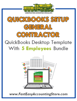 General Contractor QuickBooks Setup Desktop Template With 5 Employees Bundle