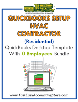 HVAC Contractor Residential QuickBooks Setup Desktop Template 0 Employees Bundle - Fast Easy Accounting Store