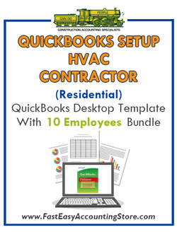 HVAC Contractor Residential QuickBooks Setup Desktop Template 10 Employees Bundle - Fast Easy Accounting Store