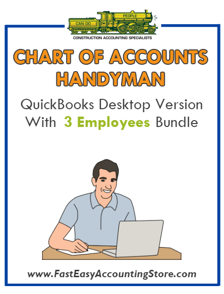 Handyman QuickBooks Chart Of Accounts Desktop Version With 3 Employees Bundle