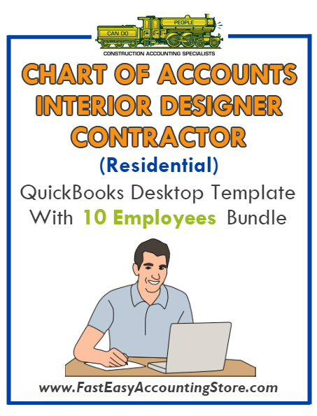 Interior Designer Contractor Residential QuickBooks Chart Of Accounts Desktop Version With 0-10 Employees Bundle