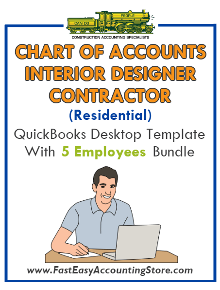 Interior Designer Contractor Residential QuickBooks Chart Of Accounts Desktop Version With 0-5 Employees Bundle