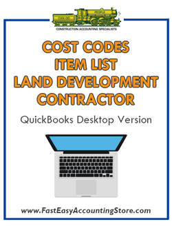 Land Development Contractor QuickBooks Cost Codes Item List Desktop Version Bundle - Fast Easy Accounting Store