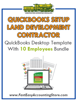 Land Development Contractor QuickBooks Setup Desktop Template With 10 Employees Bundle
