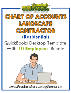Landscape Contractor Residential QuickBooks Chart Of Accounts Desktop Version With 0-10 Employees Bundle