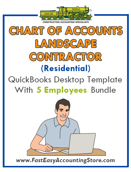 Landscape Contractor Residential QuickBooks Chart Of Accounts Desktop Version With 0-5 Employees Bundle