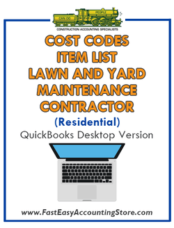 Lawn And Yard Maintenance Contractor Residential QuickBooks Cost Codes Item List Desktop Version Bundle