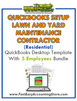Lawn And Yard Maintenance Contractor Residential QuickBooks Setup Desktop Template 0-5 Employees Bundle
