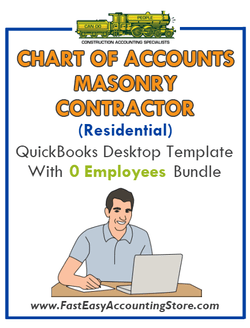 Masonry Contractor Residential QuickBooks Chart Of Accounts Desktop Version With 0 Employees Bundle - Fast Easy Accounting Store