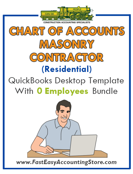 Masonry Contractor Residential QuickBooks Chart Of Accounts Desktop Version With 0 Employees Bundle