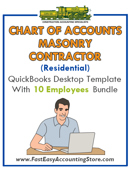 Masonry Contractor Residential QuickBooks Chart Of Accounts Desktop Version With 0-10 Employees Bundle