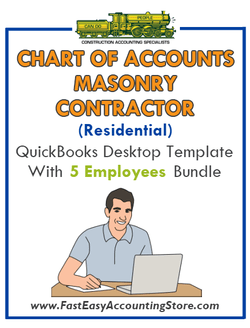 Masonry Contractor Residential QuickBooks Chart Of Accounts Desktop Version With 0-5 Employees Bundle - Fast Easy Accounting Store