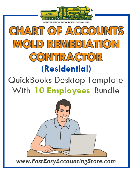 Mold Remediation Contractor Residential QuickBooks Chart Of Accounts Desktop Version With 0-10 Employees Bundle
