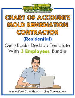 Mold Remediation Contractor Residential QuickBooks Chart Of Accounts Desktop Version With 0-3 Employees Bundle