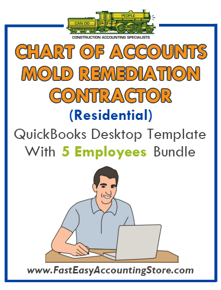 Mold Remediation Contractor Residential QuickBooks Chart Of Accounts Desktop Version With 0-5 Employees Bundle