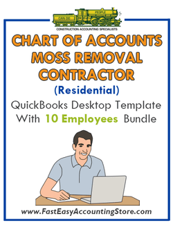 Moss Removal Contractor Residential QuickBooks Chart Of Accounts Desktop Version With 0-10 Employees Bundle - Fast Easy Accounting Store