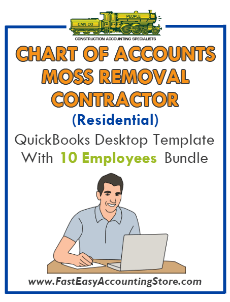 Moss Removal Contractor Residential QuickBooks Chart Of Accounts Desktop Version With 0-10 Employees Bundle