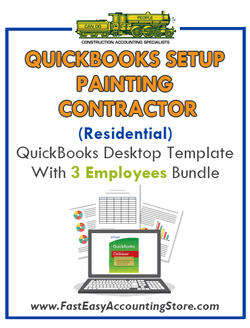 Painting Contractor Residential QuickBooks Setup Desktop Template 3 Employees Bundle - Fast Easy Accounting Store