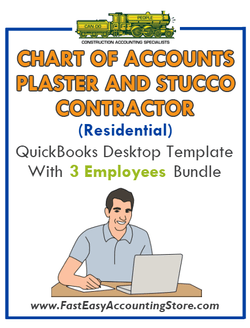 Plaster And Stucco Contractor Residential QuickBooks Chart Of Accounts Desktop Version With 0-3 Employees Bundle