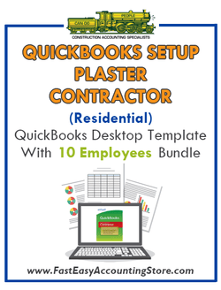 Plaster Contractor Residential QuickBooks Setup Desktop Template 0-10 Employees Bundle