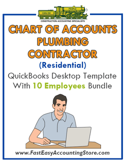 Plumbing Contractor Residential QuickBooks Chart Of Accounts Desktop Version With 10 Employees Bundle