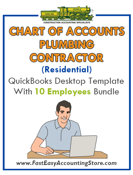 Plumbing Contractor Residential QuickBooks Chart Of Accounts Desktop Version With 10 Employees Bundle - Fast Easy Accounting Store