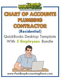 Plumbing Contractor Residential QuickBooks Chart Of Accounts Desktop Version With 5 Employees Bundle