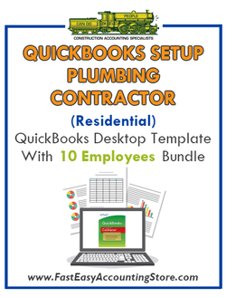 Plumbing Contractor Residential QuickBooks Setup Desktop Template 10 Employees Bundle