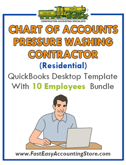 Pressure Washing Contractor Residential QuickBooks Chart Of Accounts Desktop Version With 0-10 Employees Bundle