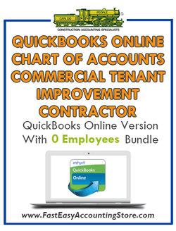 Commercial Tenant Improvement Contractor QuickBooks Online Chart Of Accounts With 0 Employees Bundle - Fast Easy Accounting Store