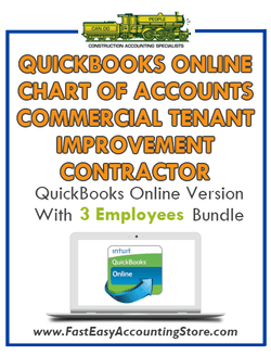 Commercial Tenant Improvement Contractor QuickBooks Online Chart Of Accounts With 0-3 Employees Bundle - Fast Easy Accounting Store