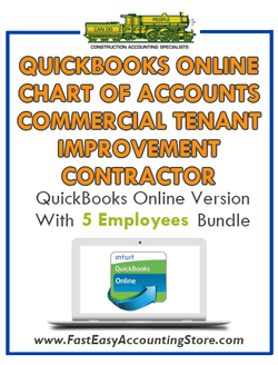 Commercial Tenant Improvement Contractor QuickBooks Online Chart Of Accounts With 0-5 Employees Bundle - Fast Easy Accounting Store