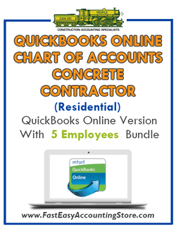 Concrete Contractor Residential QuickBooks Online Chart Of Accounts With 0-5 Employees Bundle - Fast Easy Accounting Store