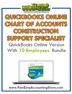 Construction Support Specialist QuickBooks Online Chart Of Accounts With 0-10 Employees Bundle - Fast Easy Accounting Store