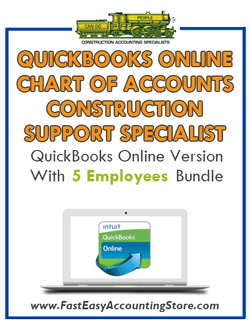 Construction Support Specialist QuickBooks Online Chart Of Accounts With 0-5 Employees Bundle - Fast Easy Accounting Store