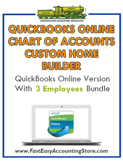 Custom Home Builder QuickBooks Online Chart Of Accounts With 0-3 Employees Bundle - Fast Easy Accounting Store