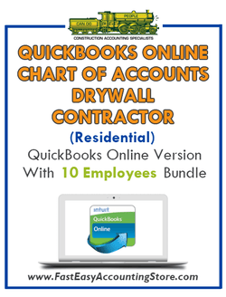 Drywall Contractor Residential QuickBooks Online Chart Of Accounts With 0-10 Employees Bundle - Fast Easy Accounting Store