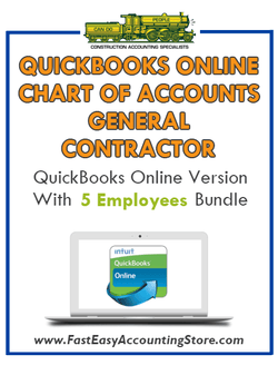 General Contractor QuickBooks Online Chart Of Accounts With 0-5 Employees Bundle