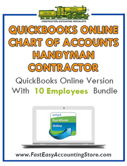 Handyman Contractor QuickBooks Online Chart Of Accounts With 0-10 Employees Bundle - Fast Easy Accounting Store