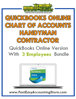 Handyman Contractor QuickBooks Online Chart Of Accounts With 0-3 Employees Bundle