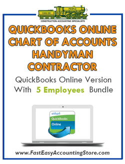 Handyman Contractor QuickBooks Online Chart Of Accounts With 0-5 Employees Bundle