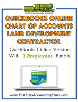 Land Development Contractor QuickBooks Online Chart Of Accounts With 0-3 Employees Bundle - Fast Easy Accounting Store