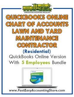 Lawn And Yard Contractor Residential QuickBooks Online Chart Of Accounts With 0-5 Employees Bundle