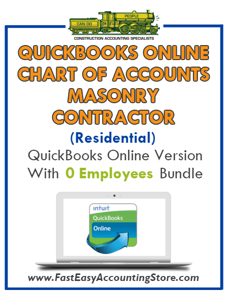 Masonry Contractor Residential QuickBooks Online Chart Of Accounts With 0 Employees Bundle