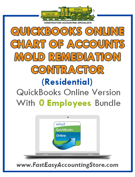 Mold Remediation Contractor Residential QuickBooks Online Chart Of Accounts With 0 Employees Bundle