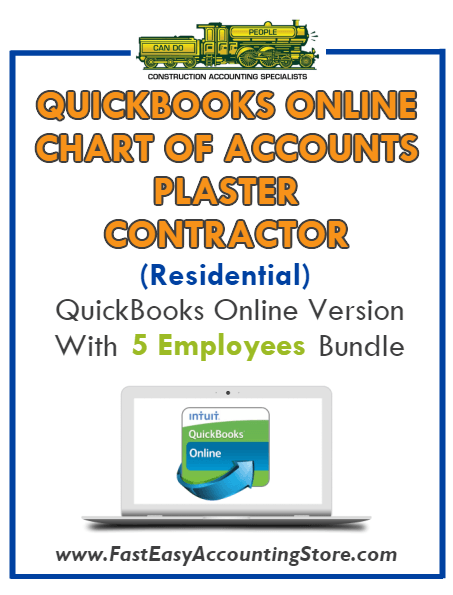 Plaster Contractor Residential QuickBooks Online Chart Of Accounts With 0-5 Employees Bundle