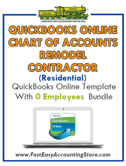 Remodel Contractor Residential QuickBooks Online Chart Of Accounts With 0 Employees Bundle